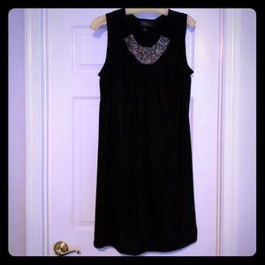 Black dress with accent neckline